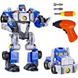 REMOKING 3 IN 1 DIY Robot Car Set,Take Apart Robot&Truck Toy with Electric Drill,Educational&Learning Building Deformable Robotics,Creativite 3D Puzzle DIY Toy Play,Best Gifts for Kids,Boys&Girls Age 3 Year and up