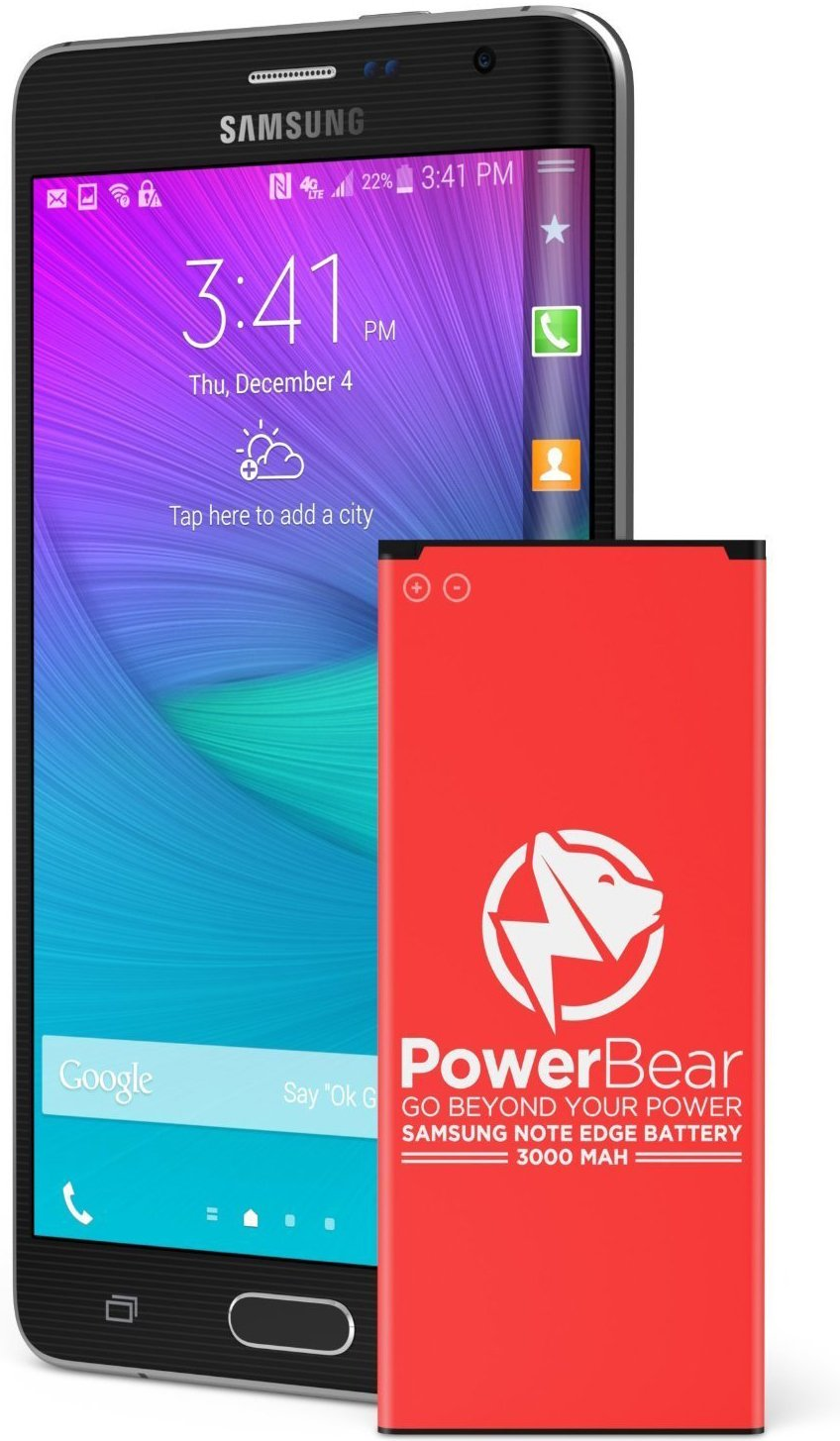 PowerBear Note Edge Battery | 3000 mAh Li-Ion Battery for The Samsung Galaxy Note Edge [N915 N915U LTE AT&T N915A Verizon N915V Sprint N915P T-Mobile N915T] Note Edge Spare Battery[24 Month Warranty] FBA_PB-RBNE-01