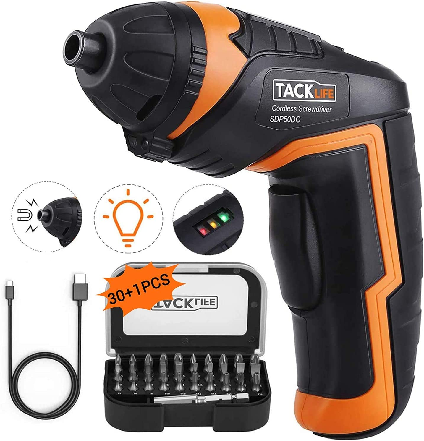 TACKLIFE Cordless Electric Screwdriver With 31 Accessories