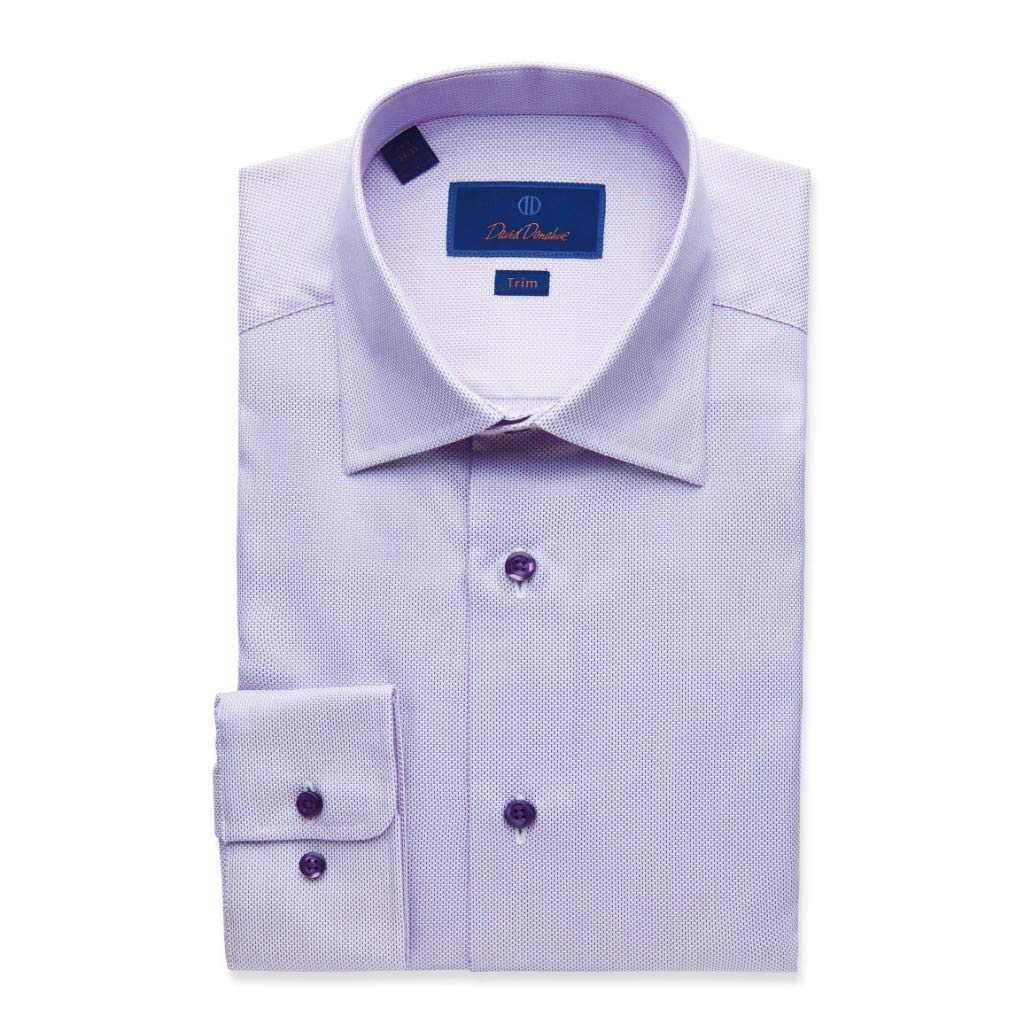 purplec Purple David Donahue Men's Trim Fit Micro Crosshatch Dress Shirt, Purple
