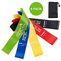 Sports&Health Resistance Loop Bands, Resistance Exercise Bands for Home Fitness, Stretching, Strength Training, Physical Therapy, Natural Latex Workout Bands, Pilates Flexbands, Set of 5