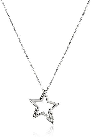 Amazon 10k white gold and diamond star pendant necklace 110 10k white gold and diamond star pendant necklace 110 cttw i j color aloadofball Images