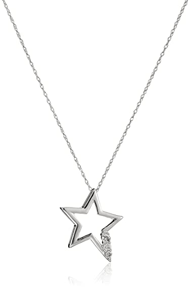 cb89918383a2b 10k White Gold and Diamond Star Pendant Necklace (1/10 cttw, IJ Color,  I2-I3 Clarity