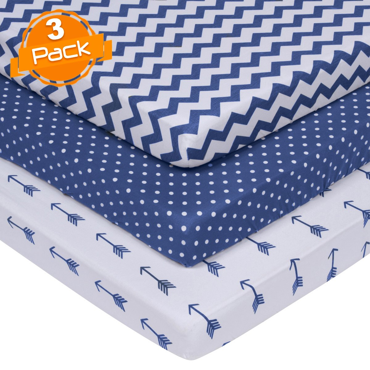 BaeBae Goods Jersey Cotton Fitted Pack n Play Playard Portable Crib Sheets Set | Navy and White | 150 GSM | 100% Cotton | 3 Pack … BaeBae & Company