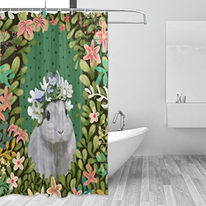 Amazon ALAZA Baby Shower Curtain Floral Bunny Wizard Of Oz
