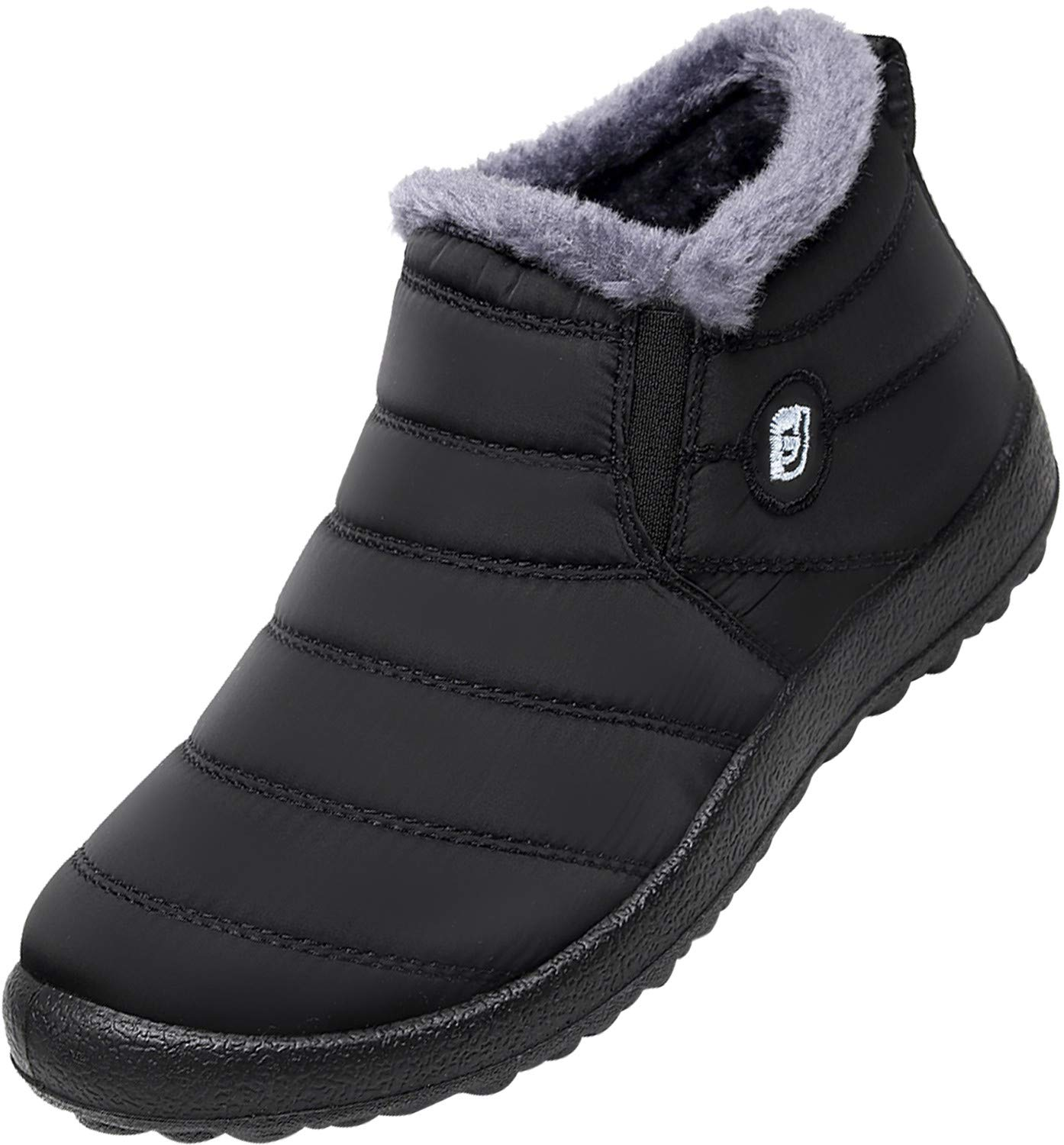 JOINFREE Womens Waterproof Snow Boots Fur Lining Slip On with Rubber Soles Black 8.5 B(M) US