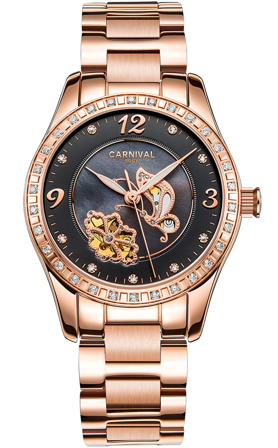 PASOY Women Automatic Watch Rose Gold Skeleton Butterfly Shell Dial Sapphire Crystal Mechanical Watches