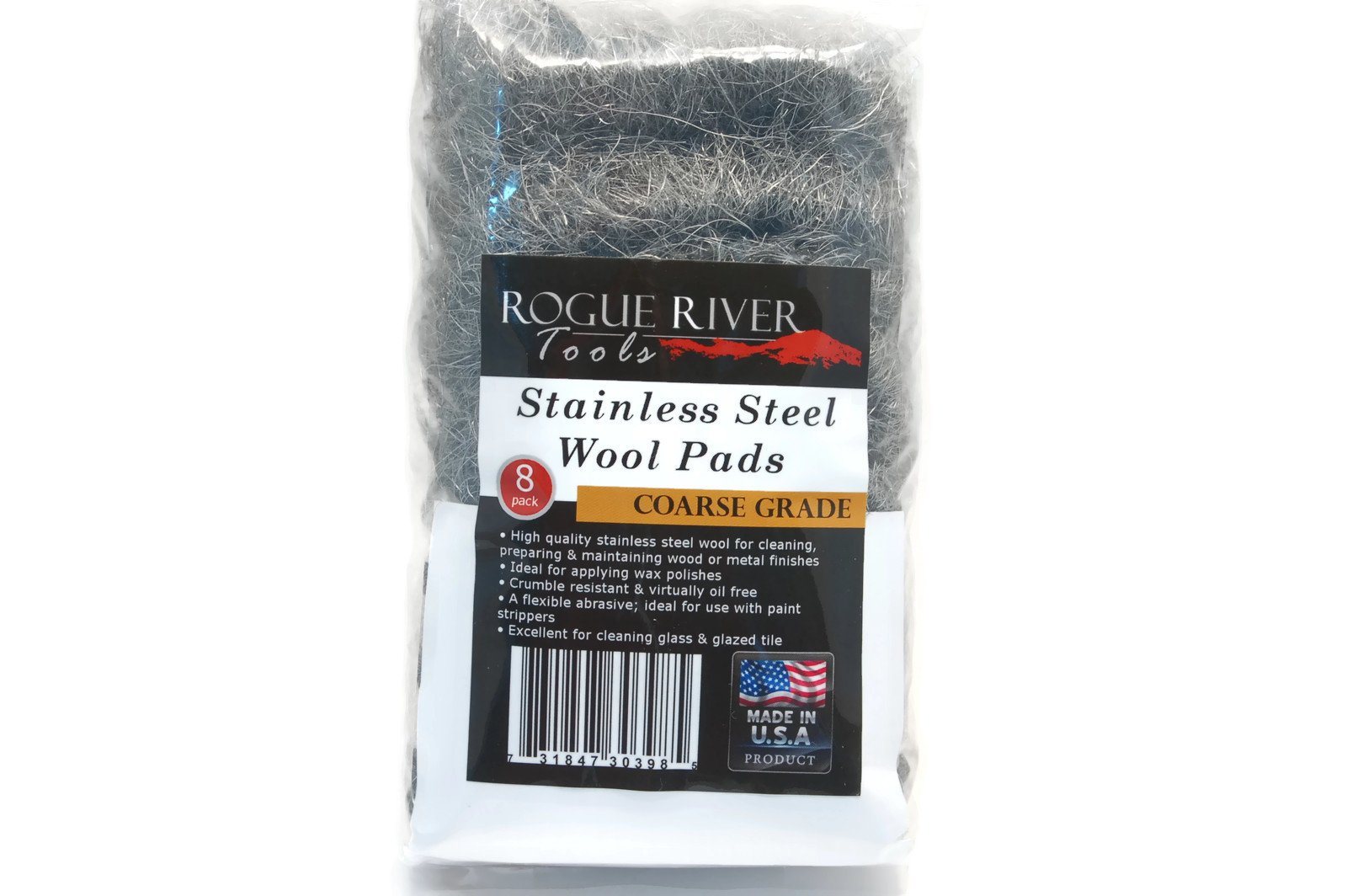 Stainless Steel Wool 8 Pad Pack (Coarse) Oil Free Manufacturing - Made in USA! by Rogue River Tools