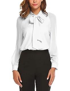 e2eecea937c12e ACEVOG Women Bow Tie Neck Chiffon Blouses Long Sleeve Patchwork Casual  Button Down Shirts