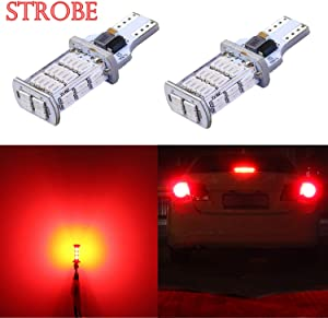 Alla Lighting 2600lm 912 921 Strobe LED Bulbs CAN-BUS Xtreme Super Bright 4014 48-SMD W16W T10 T15 Flashing Backup Reverse Brake Stop Light, Red