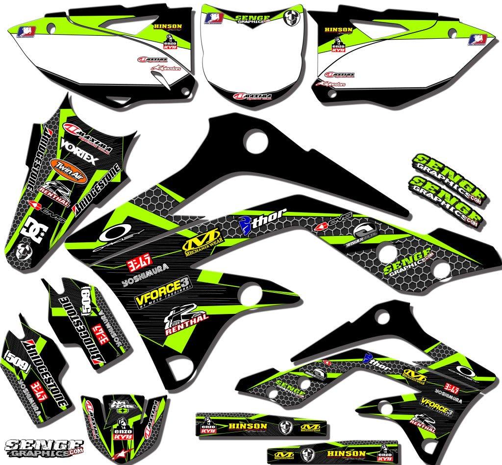 Senge Graphics 2001-2013 Kawasaki KX 85/100, Podium Black Graphics Kit