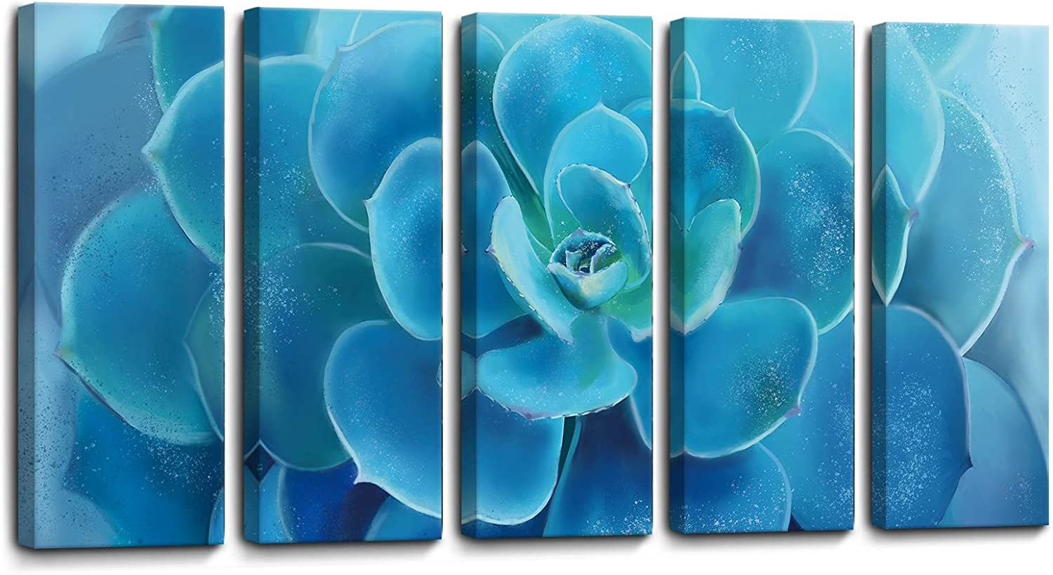 Wall Art for Living Room Large Canvas Art Work Succulents Pictures Print Wall Decor for Bedroom 5 Pieces Framed Modern Popular Wall Decorations Blue Flower Size 16x40x5 Easy to Hang