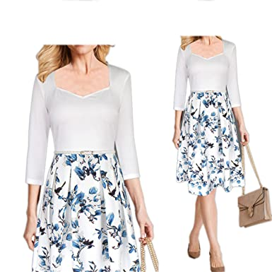 Jingyunrui Womens Elegant Autumn Floral Print Classy Vintage 3/4 Sleeve Wear to Work Casual