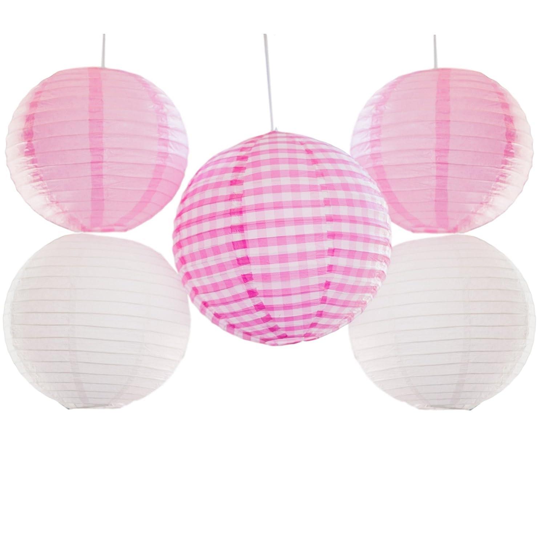 Amazon.com: Bobee Pink Gingham Paper Lanterns Set of 5: Health ...