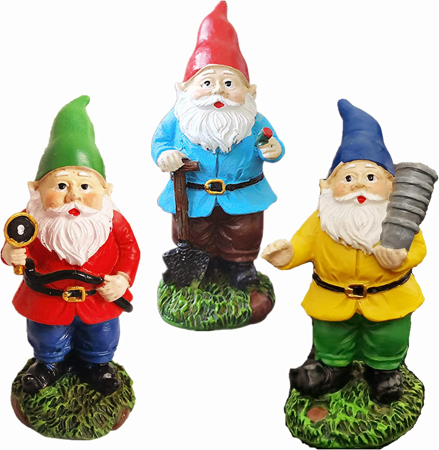 JIUMO Miniature Gnome Figurines 3 Sets Small Gnomes Sets for Fairy Gardens Gifts Fairy Garden Gnomes