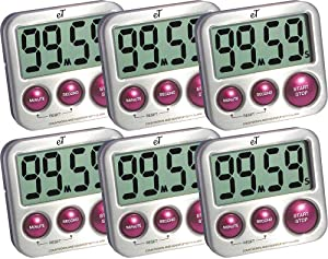 Kitchen Timer Digital, Stainless Steel, Strong Magnetic Back, Kickstand, Loud Alarm, Large Display, Auto Memory, Auto Shut-Off (Plum 6-Pack)