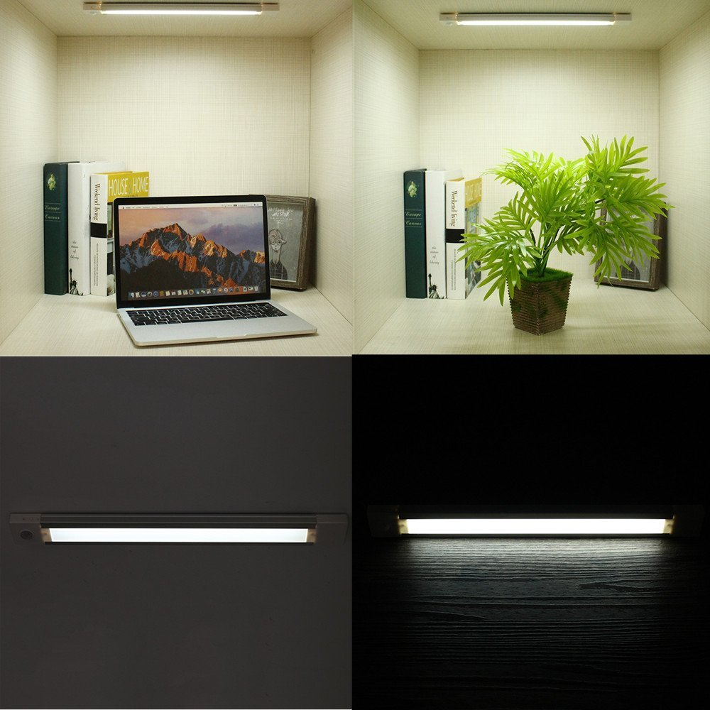 GLIME Closet Light Motion Sensor Cabinet Light Auto LED Light Strip 18LED Wireless Stick-on Anywhere Kitchen//Bedroom//Wardrobe//Stairs//Corridor//Desk Night Light Lamp USB Rechargeable Safe Lighting Bar