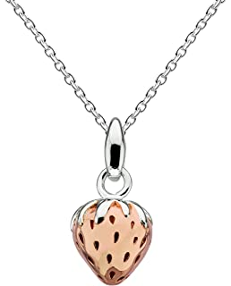 Dew Sterling Silver and Rose Gold Plate Charming Mushroom Necklace of Length 45.7cm D3qeAvpfA