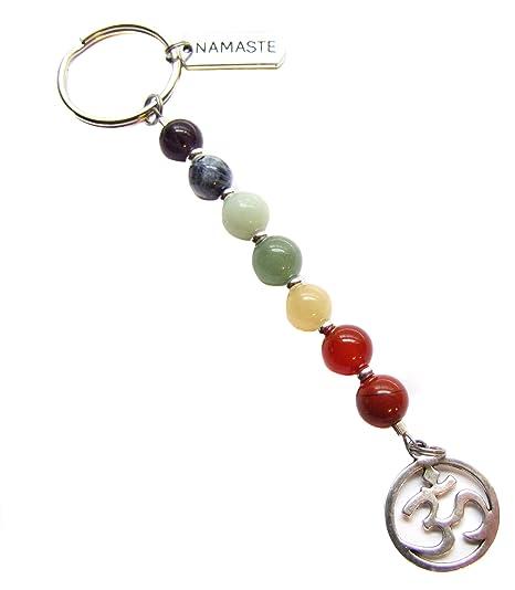 Seven Chakra Gemstone Balance Om Ohm Aum Symbol Namaste Zen Reiki Yoga Meditation Key Chain Bag Charm