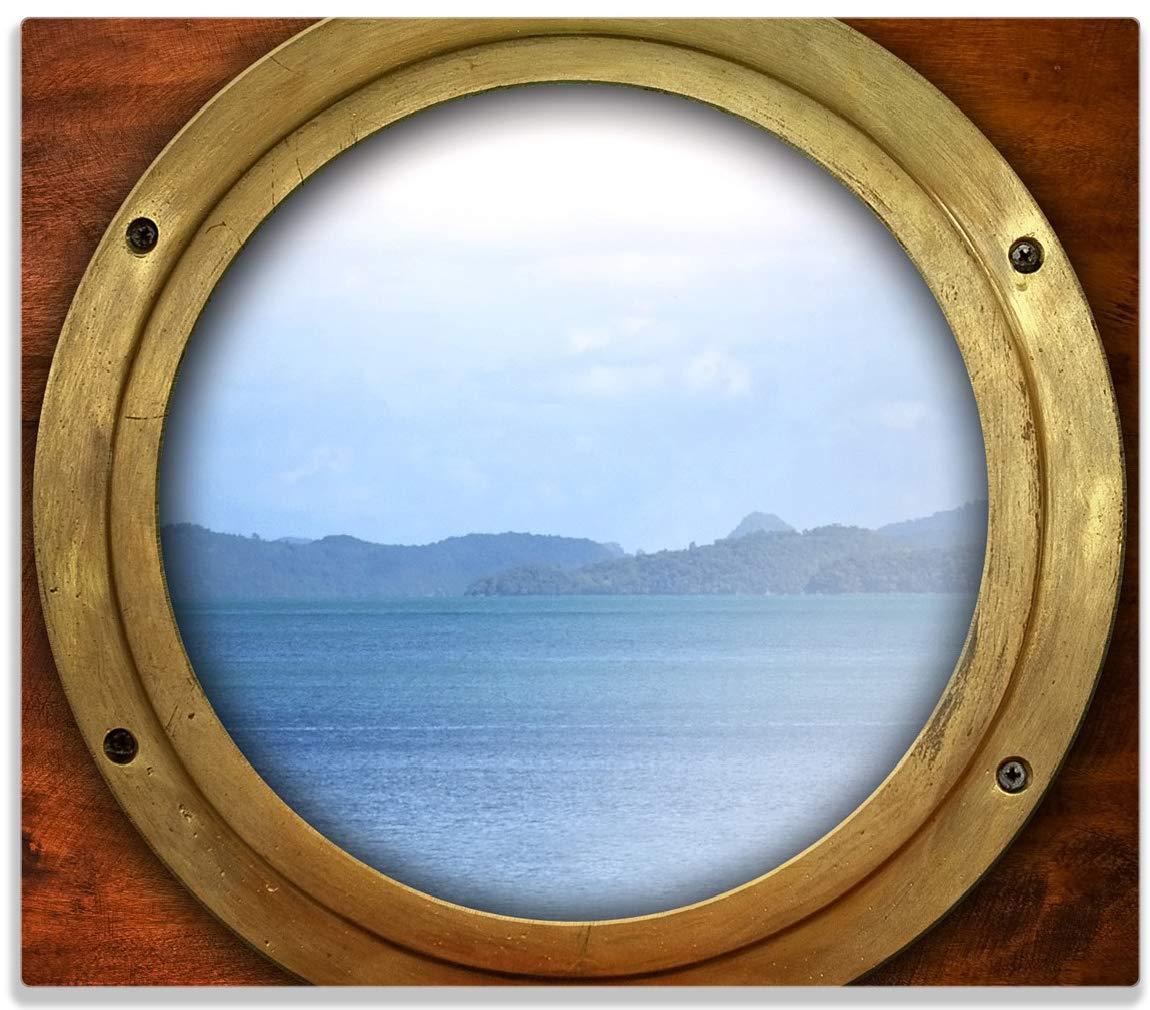 Wallario Herdabdeckplatte/Spitzschutz aus Glas, 1-teilig, 60x52cm, für Ceran- und Induktionsherde, Guckloch aus Dem Boot posterdepot