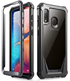 Galaxy A20 Rugged Clear Case, Galaxy A30 Case, Poetic Full-Body Hybrid Shockproof Bumper Cover, Built-in-Screen Protector, Guardian Series, Case for Samsung Galaxy A20 / Galaxy A30, Black/Clear