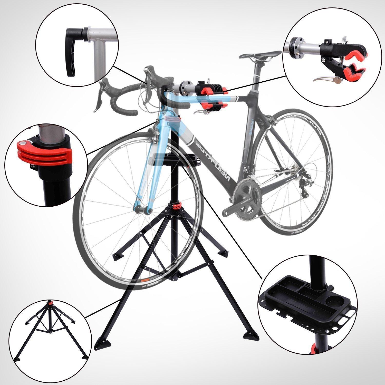 HOMCOM Bicicletas Soporte de Pie 100 a 190cm Reparacion Bicicletas con Bandeja Herramientas Bici: Amazon.es: Deportes y aire libre