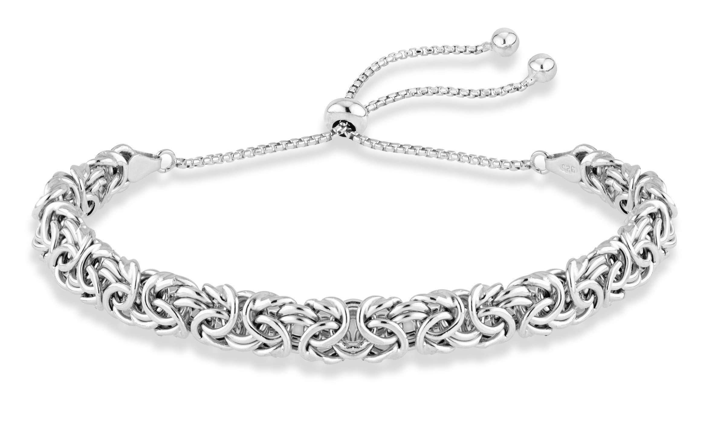 MiaBella 925 Sterling Silver Italian Byzantine Adjustable Bolo Link Chain Bracelet for Women 925 Italy