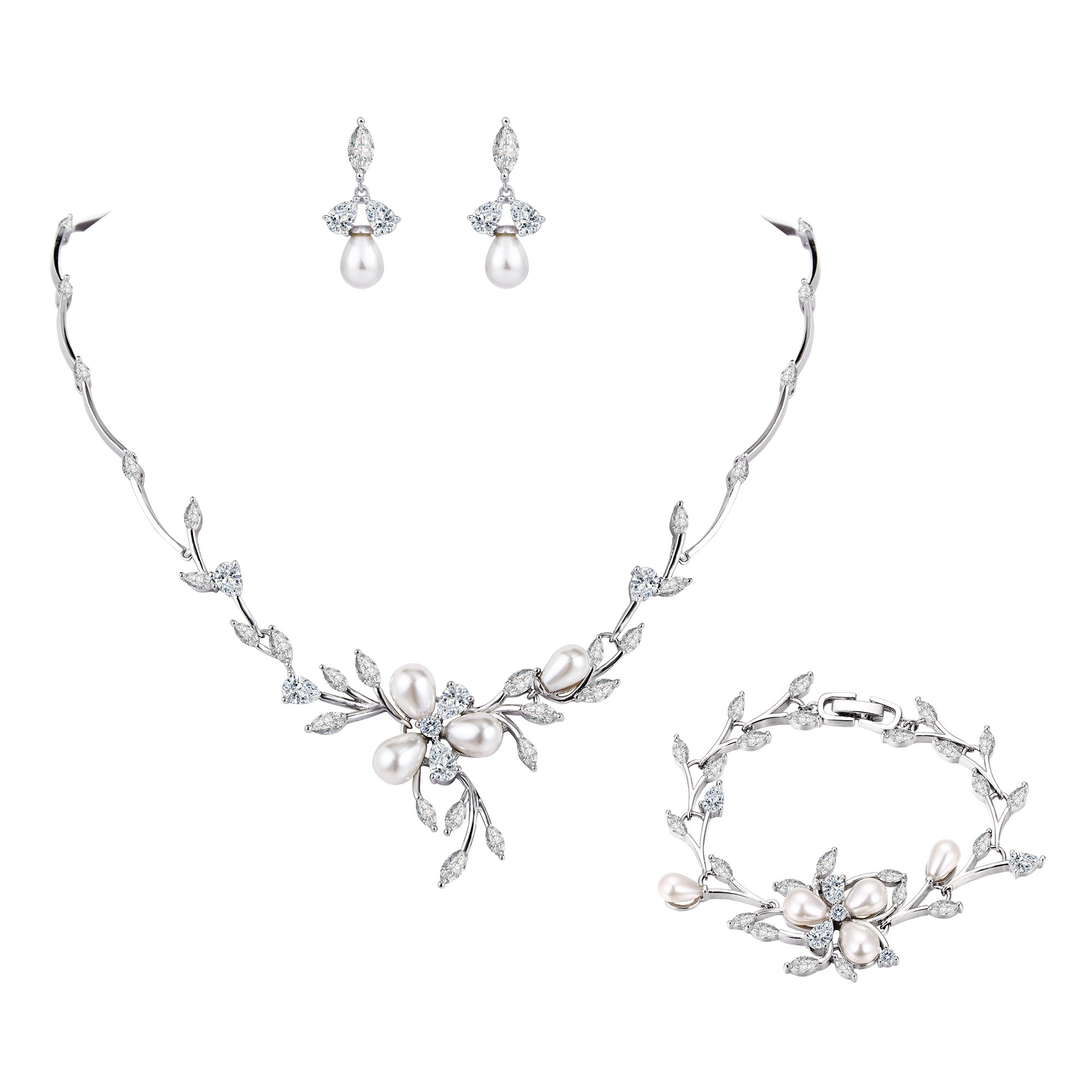 EVER FAITH Clear Marquise CZ Simulated Pearl Bride Flower Leaf Filigree Necklace Earrings Bracelet Set Silver-Tone by EVER FAITH