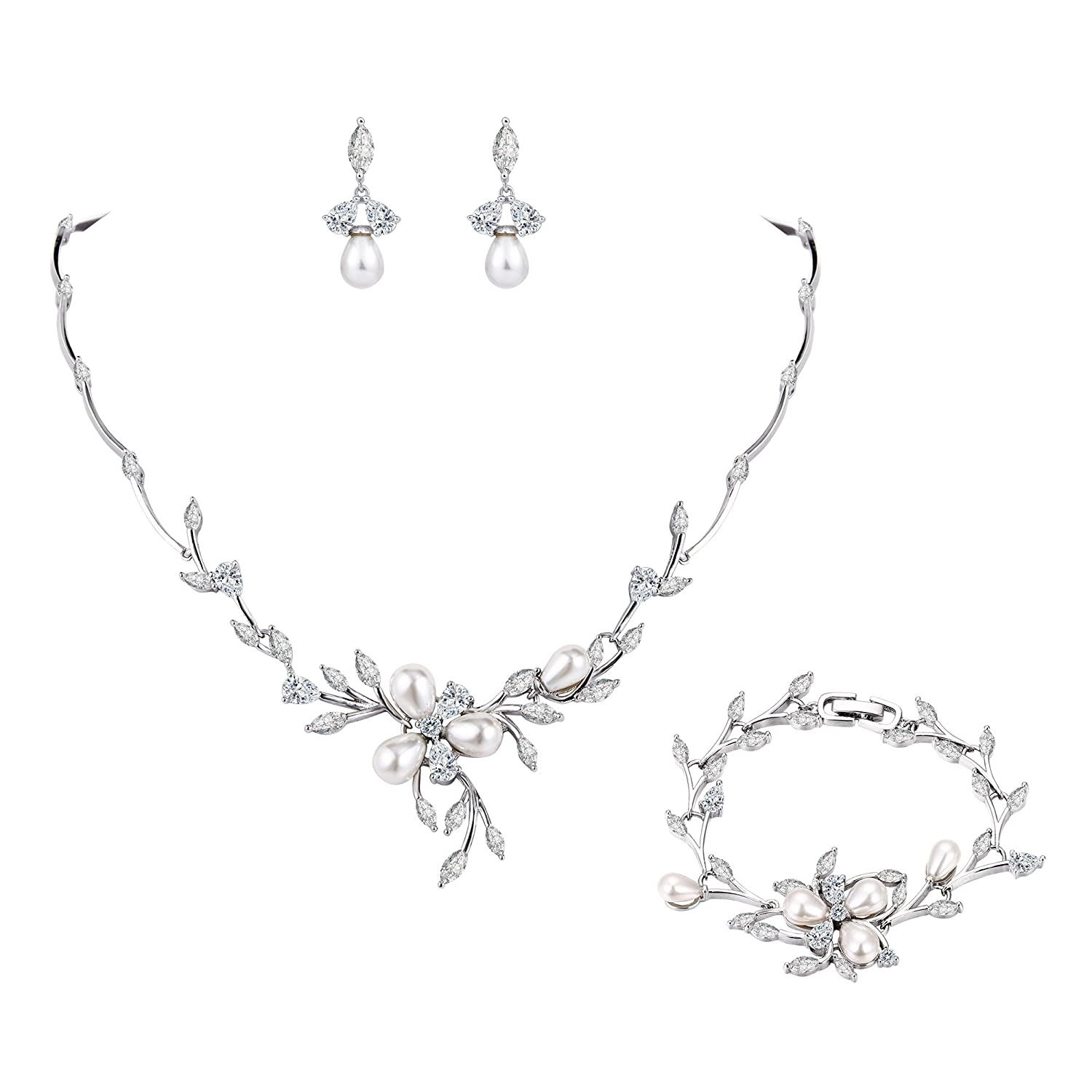 EVER FAITH CZ Simulated Pearl Flower Leaf Filigree Necklace Earrings Bracelet Set Clear Silver-Tone N10230-1