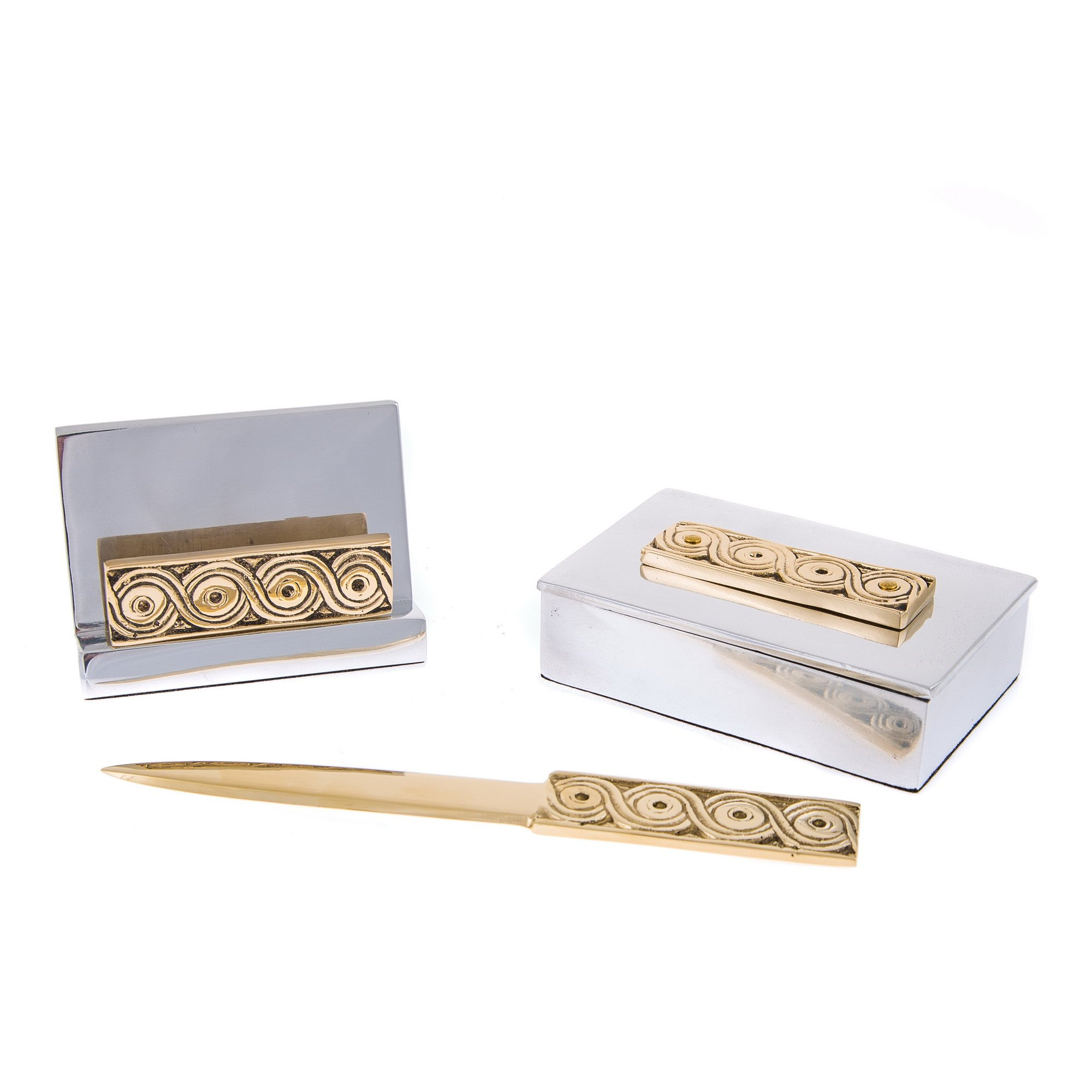 EliteCrafters Set of 3 Stylish Solid Metal Office Desk Accessories Handmade, Greek Archaic Design - Decor Storage Box, Business Card Holder & Letter Opener