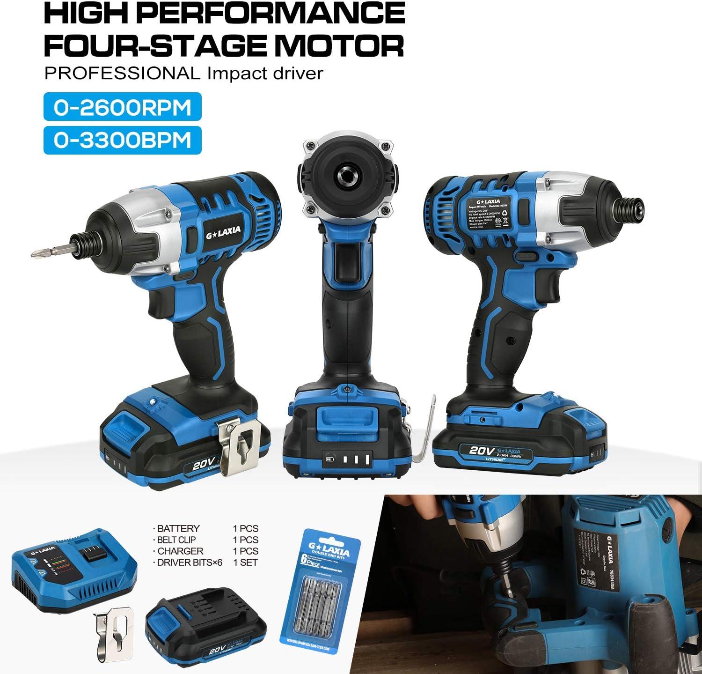 150 Nm, 20 V, bater/ía de 2,0 Ah con cargador r/ápido, par de apriete m/áximo 150 Nm, 2900 RPM, 6,35 mm, hex/ágono interior, luz de trabajo LED Atornillador de impacto inal/ámbrico G LAXIA