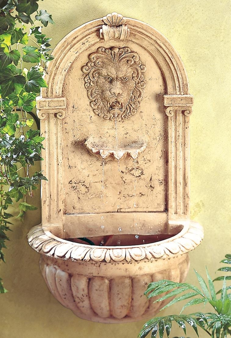 Furniture Creations Lion Head Outdoor Wall Mount Garden Water Fountain by Sunshine Megastore