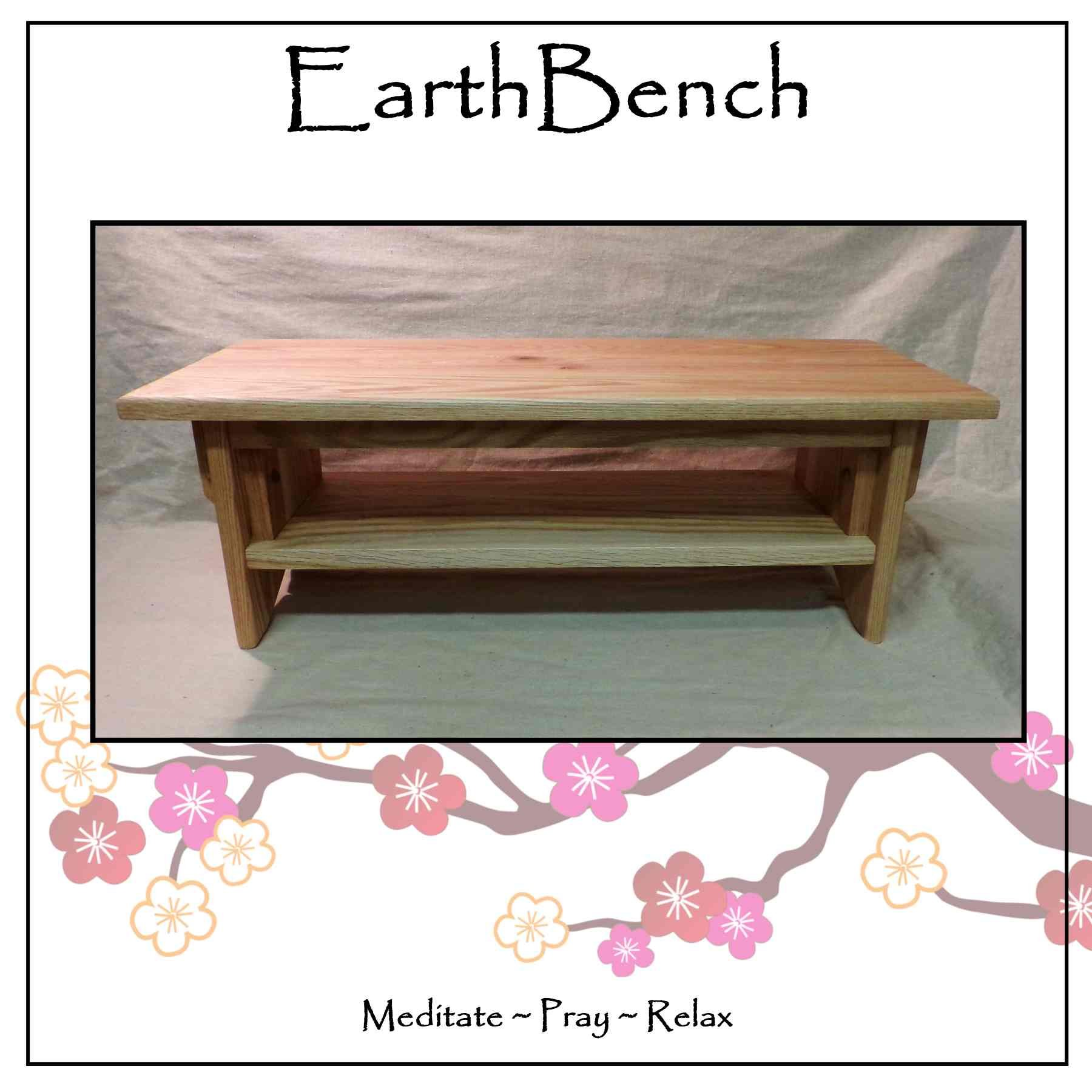 Meditation Bench ~ 10'' tall Personal Altar Table by EarthBench: RED OAK (28'' by 11'' by 10'' tall)