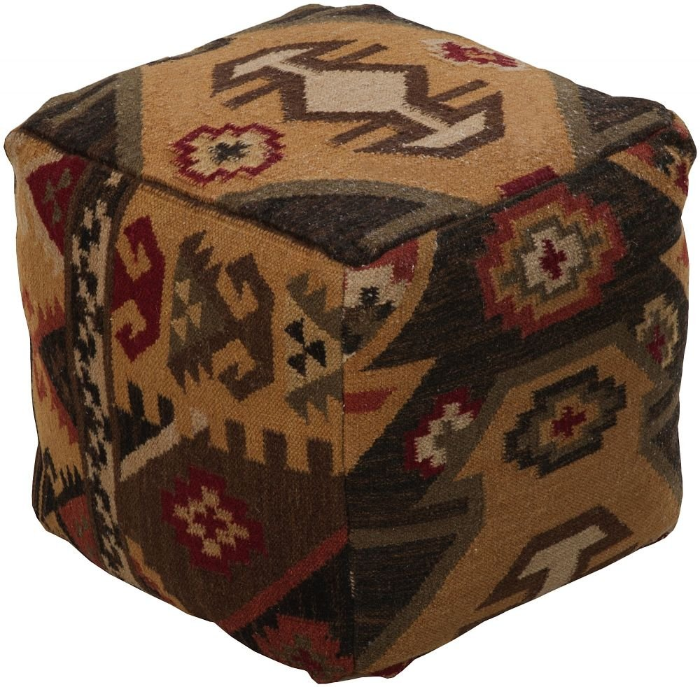 Surya Southwestern/Lodge Square pouf/ottoman 18''x18''x18'' in Multi Color From Surya Poufs Collection