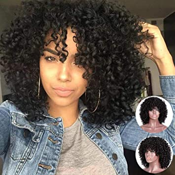 fb18ac48eeb MERISIHAIR Curly Afro Wigs for Black Women Synthetic Heat Resistant Jet  Black Curly Full Wigs for