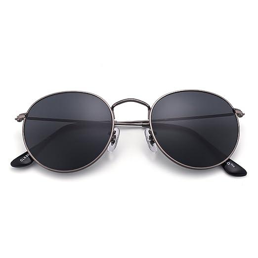 Rispecchiato Classico Il giro Occhiali da Sole Uomini Donne UV400 Annata Steampunk Cornice metallica Marrone wMYXEKVF