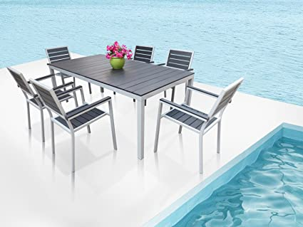 Outdoor Patio Furniture New Aluminum Resin 7 Piece Square Dining Table U0026 Chairs  Set