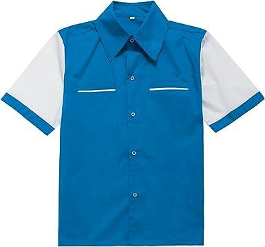 Candow Look Camisa de Hombre inspiracion Retro 50s Rockabilly Shirts