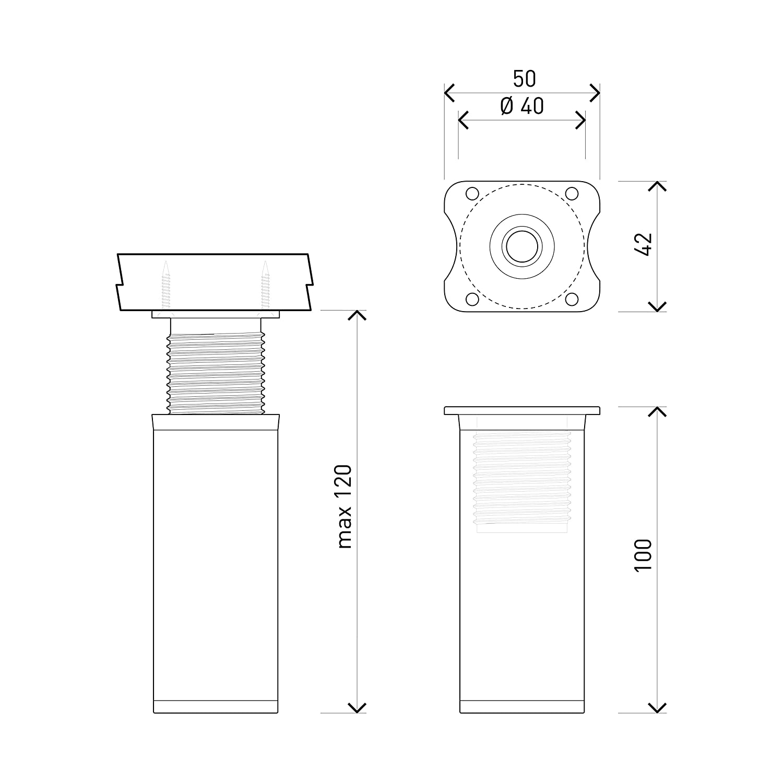 4er Set Holzschrauben inklusive +20mm H/öhe: 80mm Rund-Profil: /Ø 40 mm | Material: Aluminium//Kunststoff Sossai MFR1-AL h/öhenverstellbar Farbe: Alu Design-M/öbelf/ü/ße