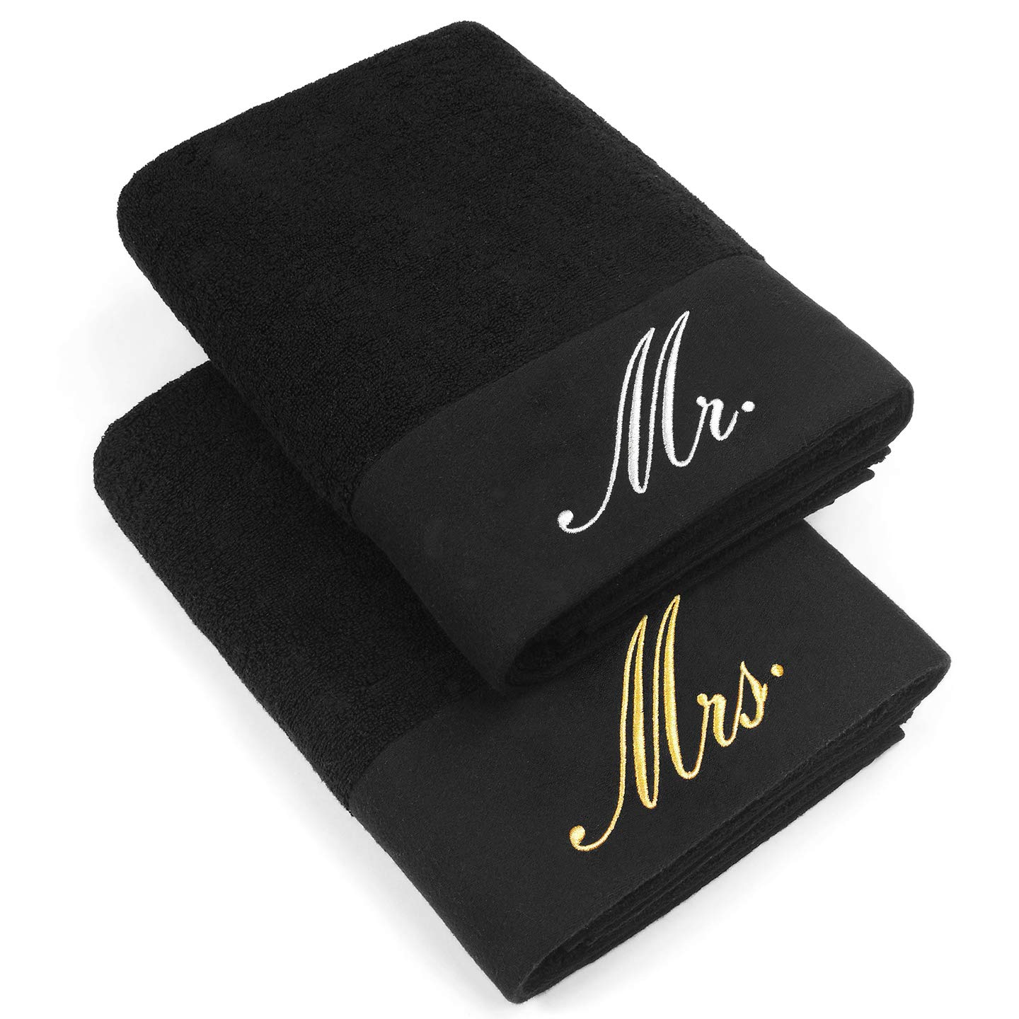 Ben Kaufman Sales KAUFMAN - LUXURIOUS COUPLES EMBROIDERED BATH SHEET SET OF 2 LARGE TOWELS FOR PARTNERS (Black - Mr and Mrs)
