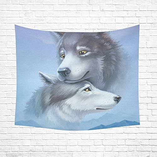 Two Lovers Wolf Cotton Linen Wall Tapestry 60 X 51 ,Wall Hanging Tapestries, Bedspread Bedding Bed Cover, Ethnic Home