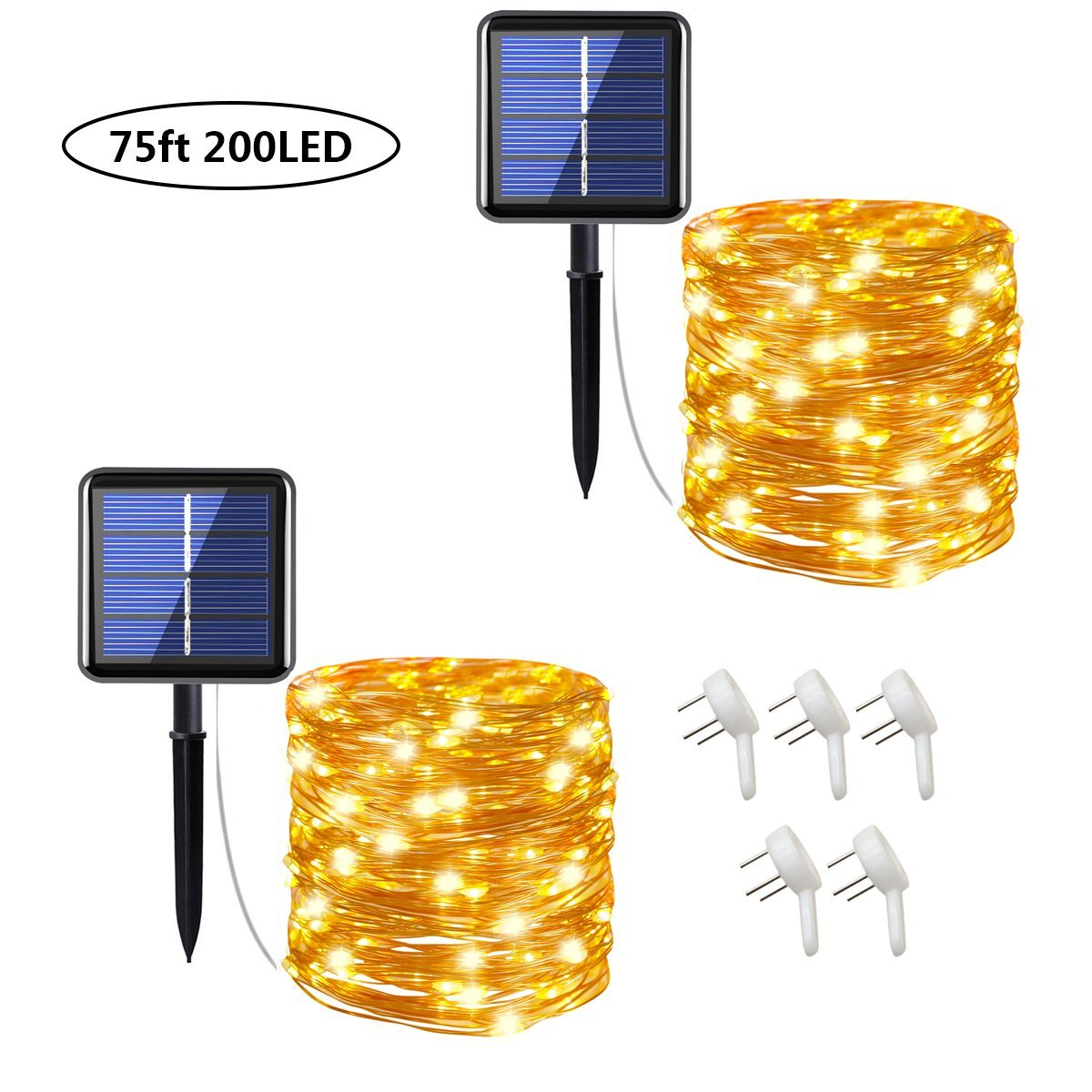 Cusomik Solar String Lights Outdoor,75ft 200 LED Copper Wire Lights,8 Modes Starry Lights, IP65 Waterproof Fairy Christmas Decorative Lights for patio,Garden,Gate,Yard,Wedding,Party 2 pack