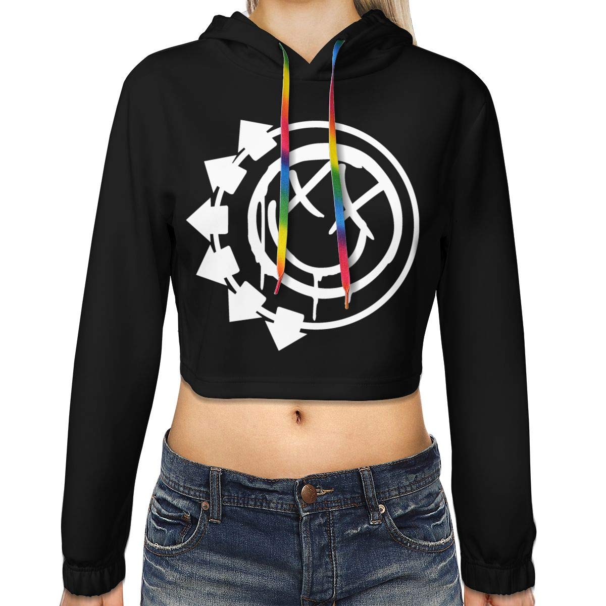 FASHION-TREND Women's Blink-182 Cropped Hoodie