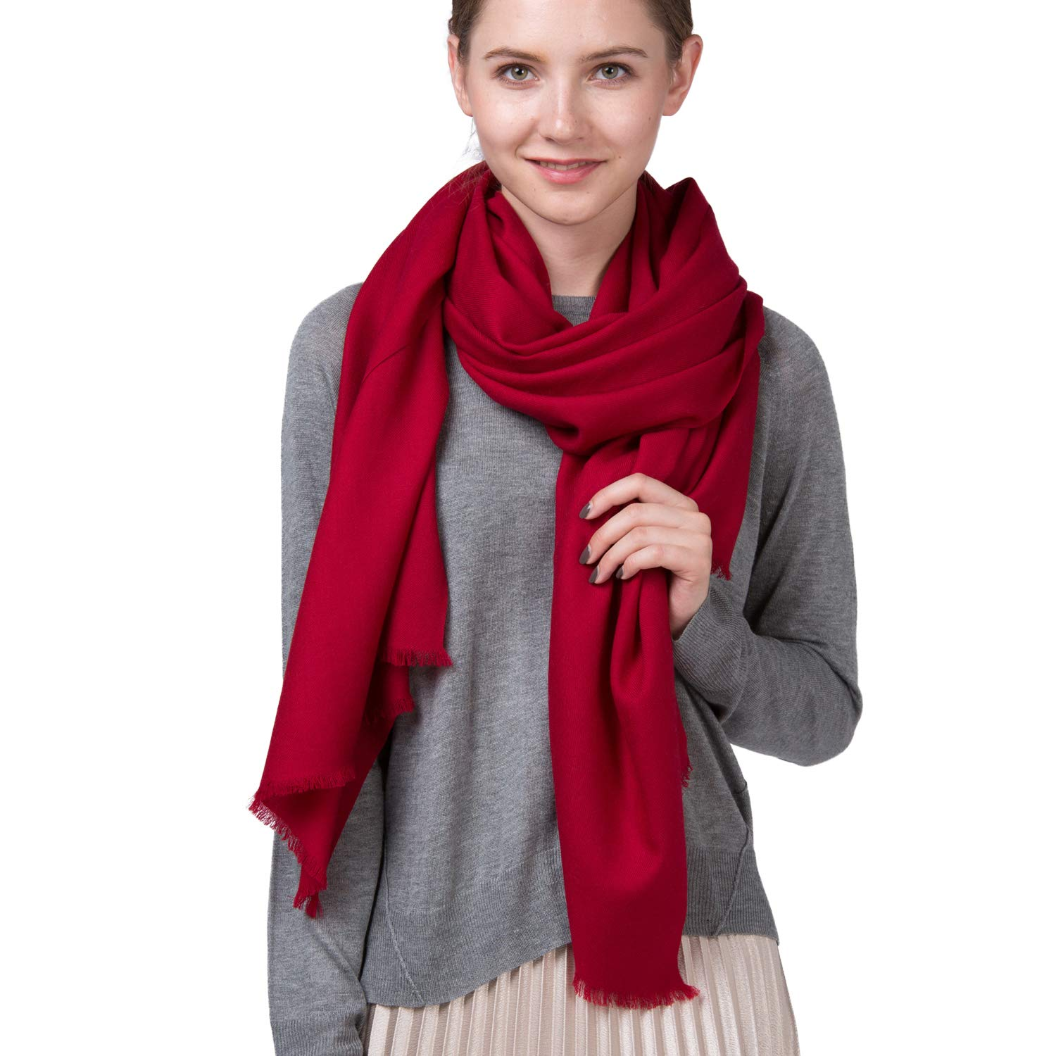 Vemiss 100% Wool Scarf Long Shawl Twill Thin and Soft Fall Winter New Style for Women(Wine red)