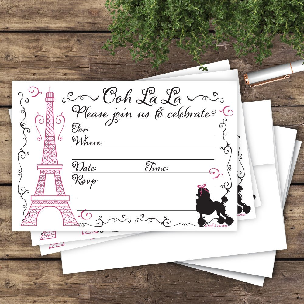 Amazon.com: Paris Party Invitations (20 Count) With Envelopes ...