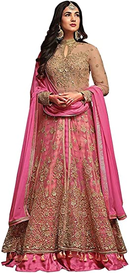 Buy SARVADARSHI FASHION Women's Semi-Stitched net Long Anarkali Gown Suit  Set (Pink, Free Size) at Amazon.in