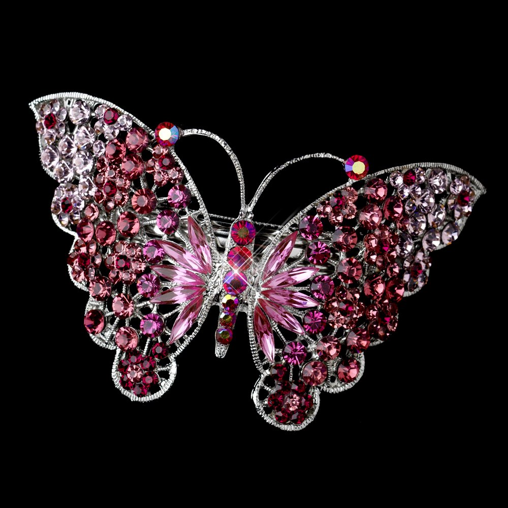 Marlena Pink AB Rhinestone Butterfly Wedding Bridal Barrette - Special Occasion, Prom, Party