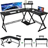 "GreenForest L Shaped Desk 58"" Reversible Corner Computer Desk with Movable Shelf and CPU Stand, Gaming Desk with Sturdy X Leg"