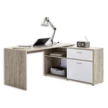 fmd moebel 367 001 diego bureau dangle avec tiroirporte coulissante bois - Bureau Angle Bois