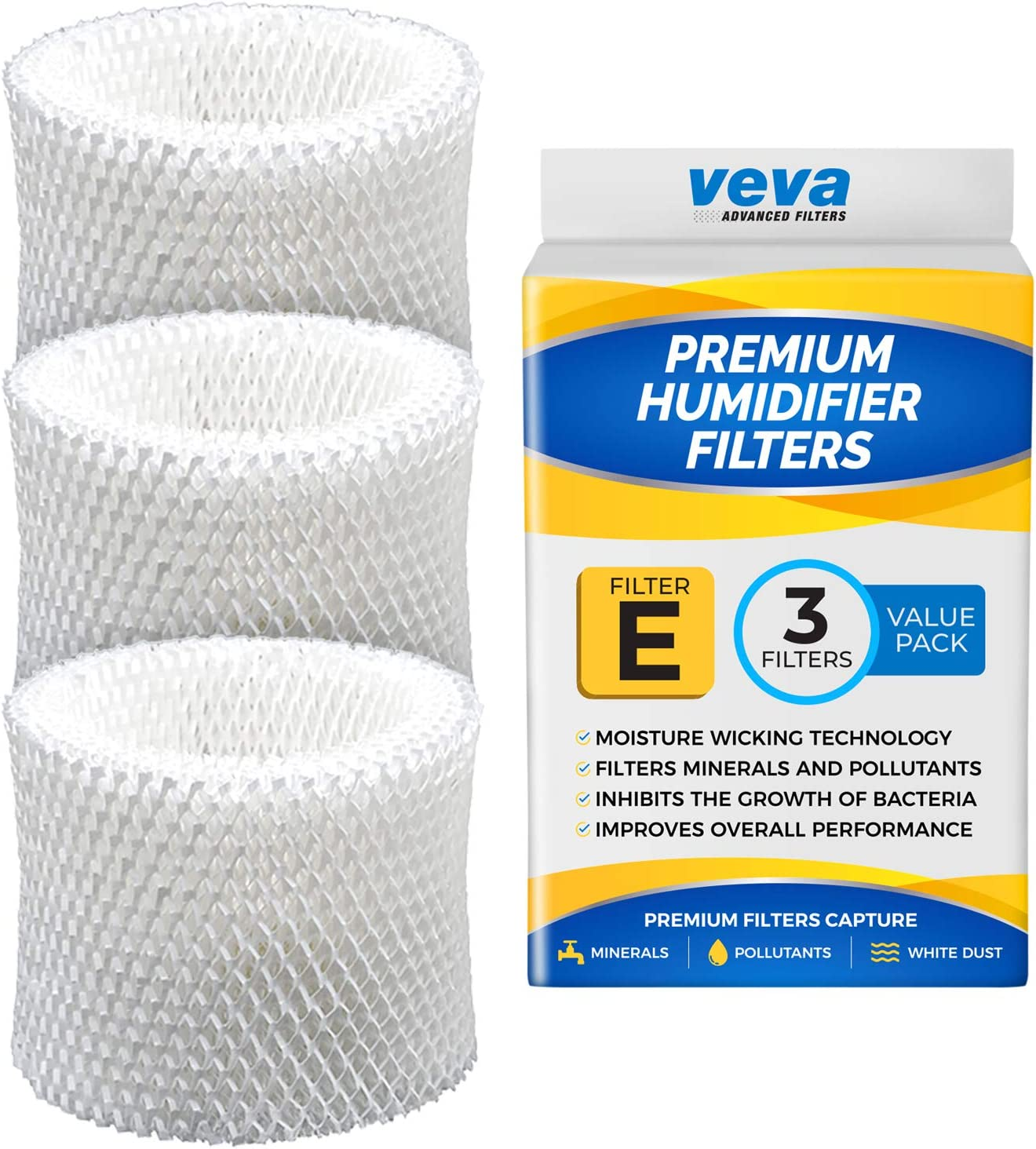VEVA 3 Pack Premium Humidifier Filters Replacement for HW Filter E, HC-14, HCM-6009, HCM-6011, HEV680, HEV685 Series humidifiers